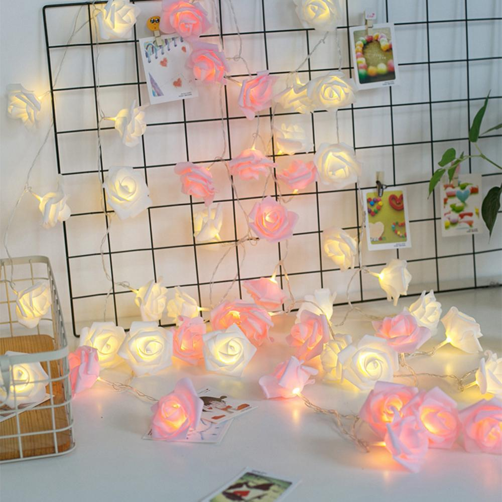 Fábrica Wholesale10 / 20/40 LED cor-de-rosa branca flor Luzes do feriado do Natal Luzes Cordas USB / pilhas Weddi Valentine