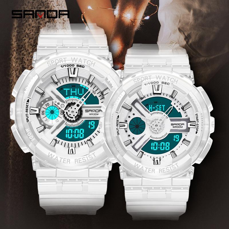 2019 Montres amateurs de mode numériques multifonctions Double mouvement montres Montre sport militaire Hommes Choc Bracelet transparent Horloge féminine