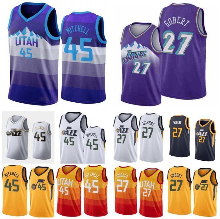 pallacanestro Jersey uomini UtahJazz45 DonovanMitchell 27 RudyGobert Swingman ricamato maglia senza maniche e pantaloni