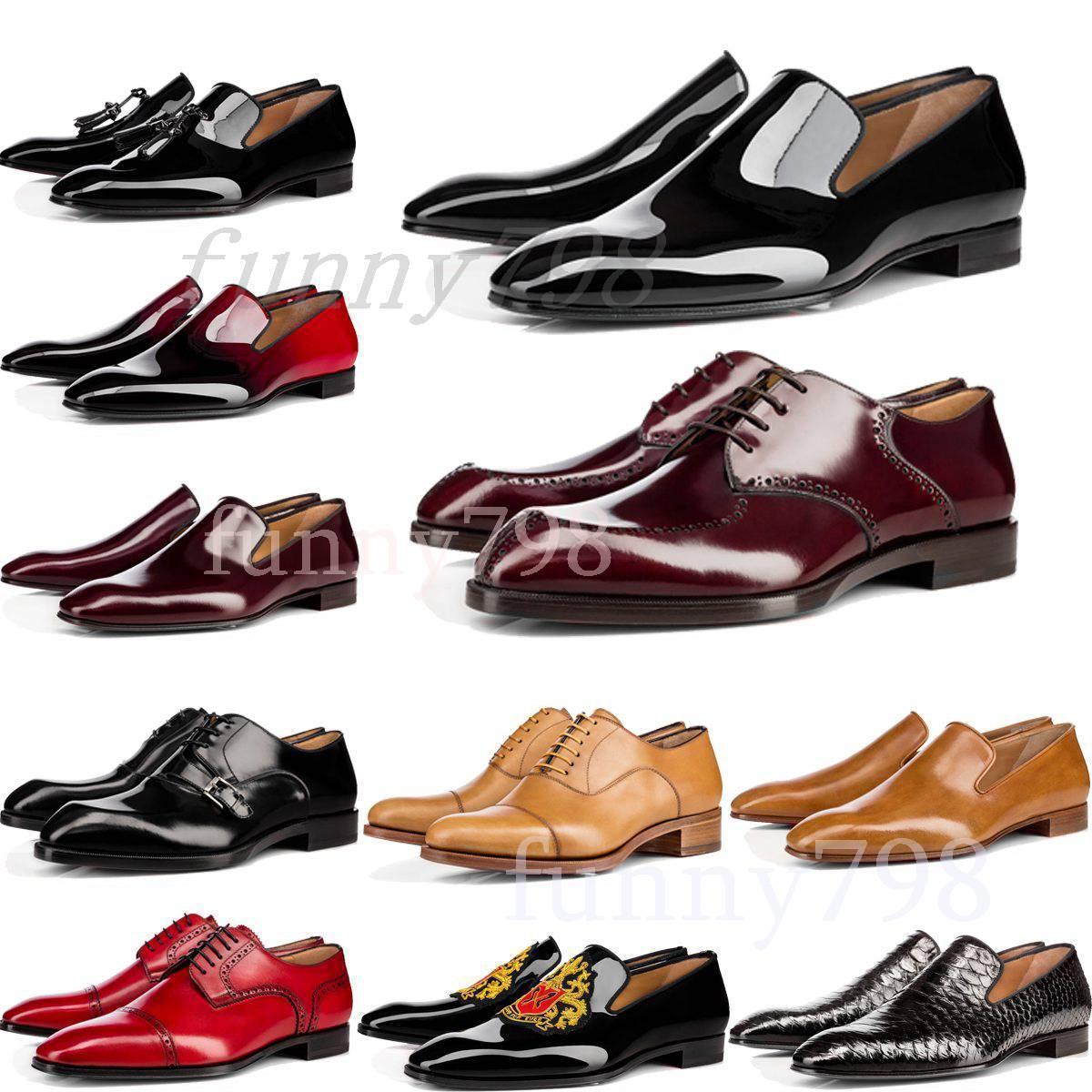 [Avec boîte] 2019 rouge Bas marque de design de luxe hommes chaussures habillées Chaussures formelles véritable Concepteurs Bas en cuir rouge Shoes5cae #