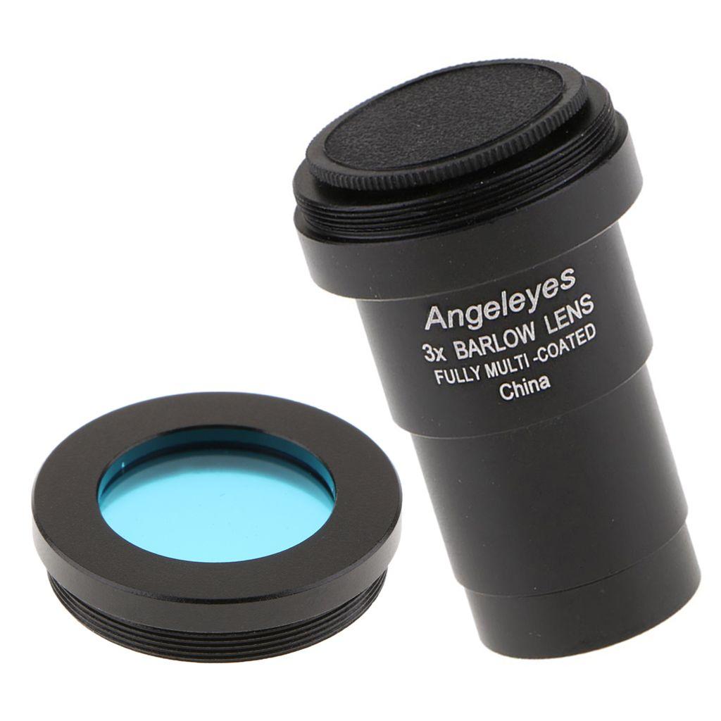 1,25 pouces 3X Barlow Objectif multi pelliculé à large bande M42 Telescope Oculaire Filtre couleur (bleu) pour Astronomie Photographie Accessoire