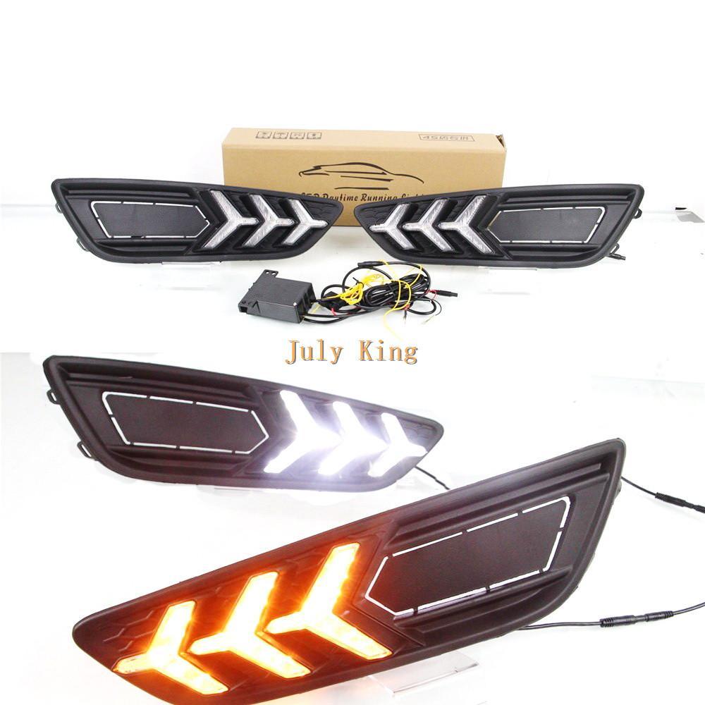 Julio, el rey LED de luces de circulación diurna para Ford Focus Caso IV 2015-2018, parachoques delantero LED DRL con serpentina amarillo las señales de giro Luz