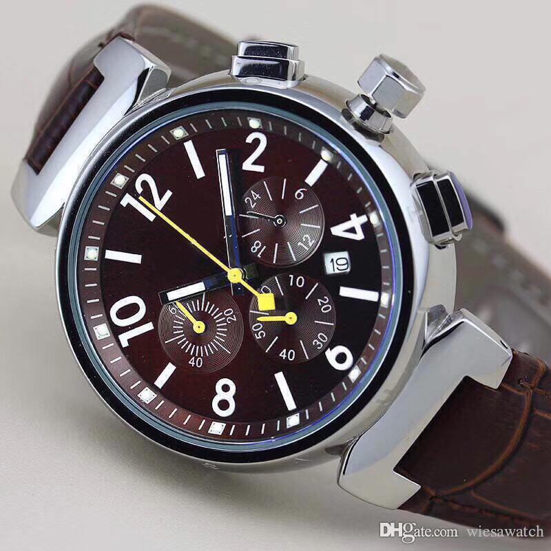 Heißer verkauf mode im freien herren armbanduhr v277 chronograph quarzuhr männer uhren weinrot zifferblatt mit braunem lederarmband und gelben zeigern