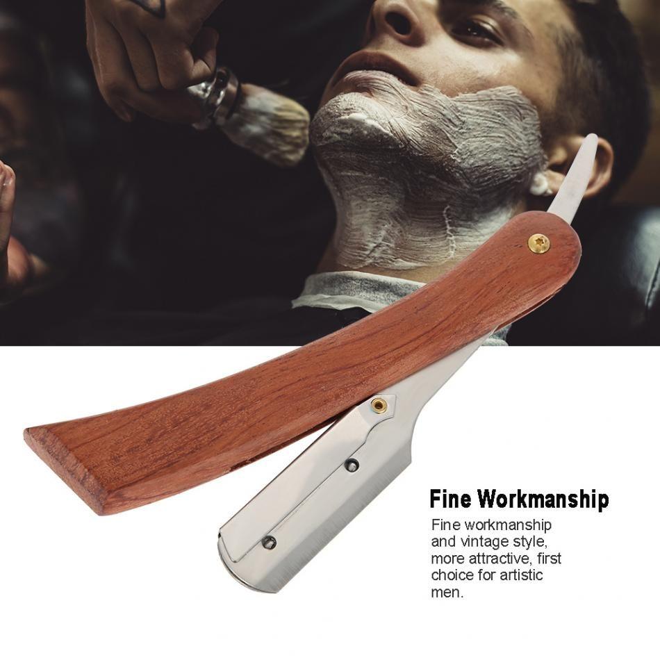 Stainless Steel Straight Edge Razor Folding Shaver Knife Barber Safety Razor Wooden Handle Face Hair Eyebrow Beard Shaving Tools