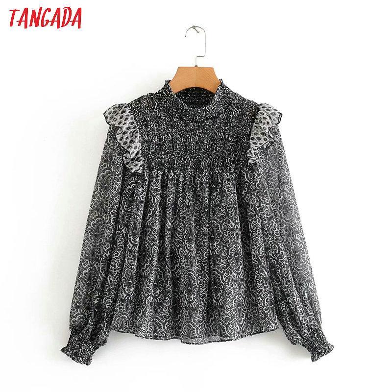 Tangada женщины цветочный принт шифоновая рубашка блузка плиссированные оборки 2020 новый шикарный женский повседневный топы 3A68