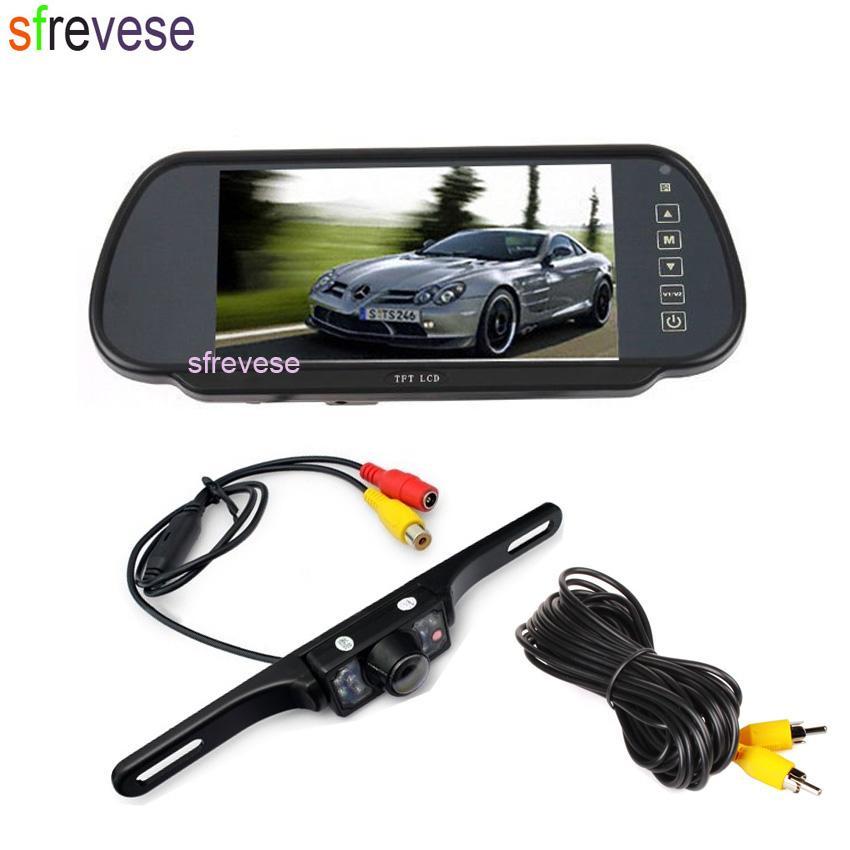 "7 ""Carro Cor Retrovisor Monitor + Carro Backup Vista Traseira Night Vision Viewing Camera"
