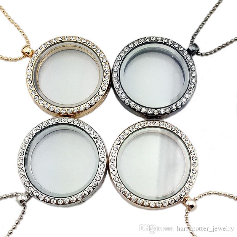 Crystal Floating Locket Ожерелье Магнитная Живая Ворота Круглые Медальки Каркаты Подвески Мода DIY Ювелирные Изделия будут и Песчаный падение