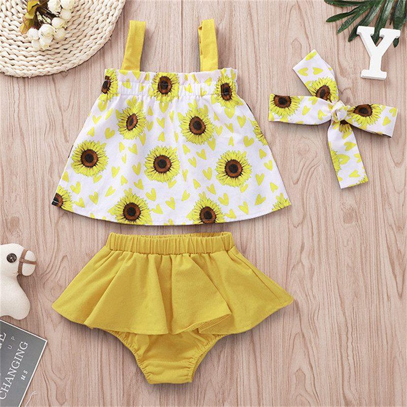 Bebek Giysileri 2 ADET Set Çocuklar Takım INS Kızlar 2019 Jartiyer Ayçiçeği Baskılı Katı Bölünmüş Etekler Elbise Çocuk Giyim Tops Q354