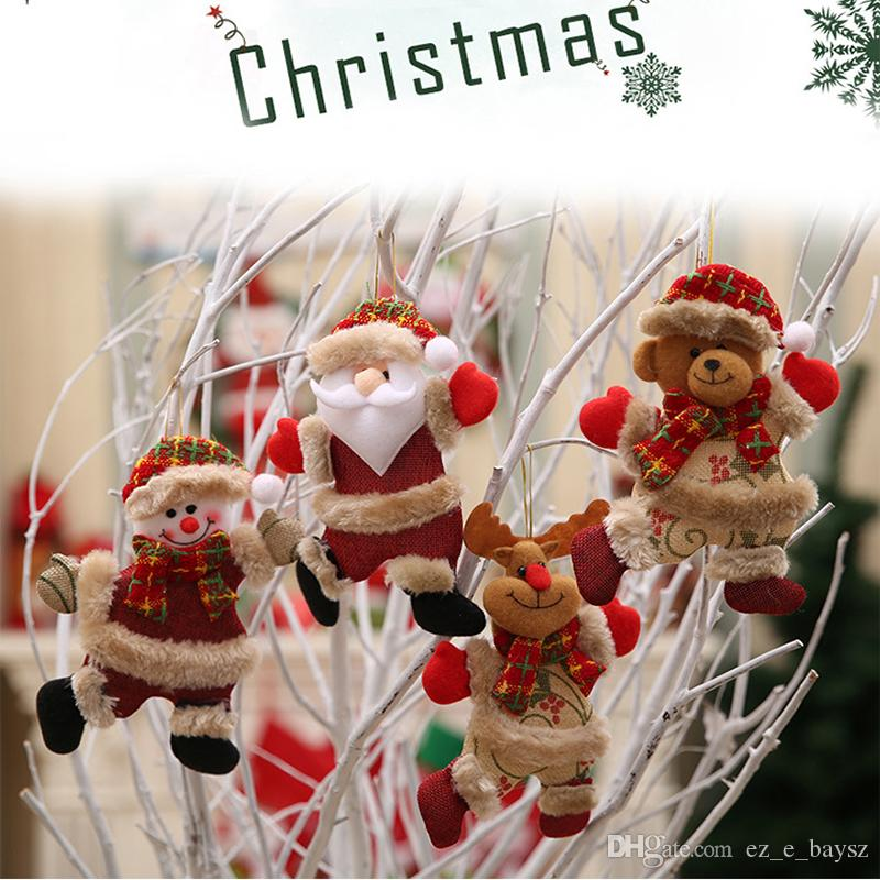 En peluche de Noël Ornements 4 Styles Ornement de Noël Hanging décorations de fête saison Pendentif Père Noël / bonhomme de neige / Reindeer Ornements pour Arbre M765F