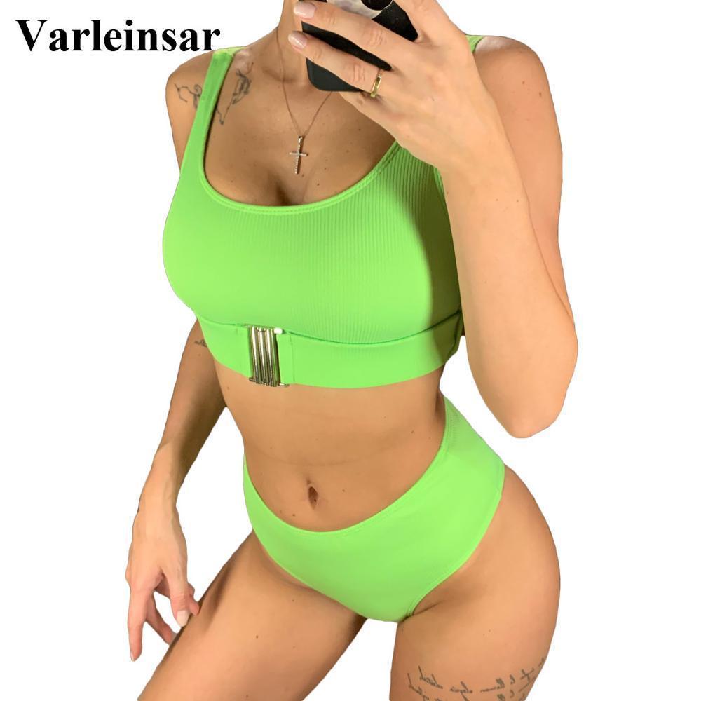 4 colores acanalado traje de baño del bikini de cintura alta de baño mujeres-Dos piezas bikini conjunto traje de baño traje de baño del bañista de cintura alta V1664 T200509