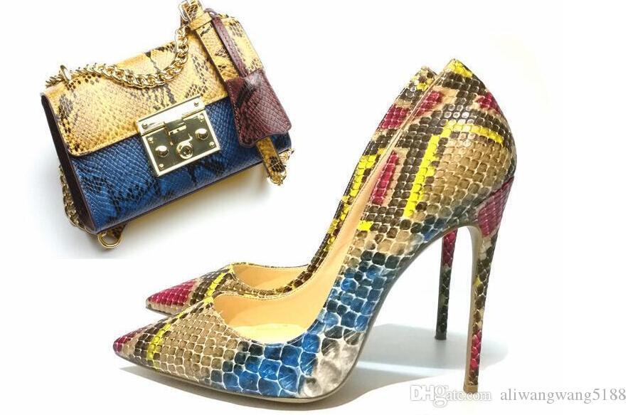 2019 envío gratis Mujeres de la boda de múltiples colores serpiente de cuero de pitón Poined Toes zapatos de tacones HEELED tacones de tacón de aguja zapatos 12 cm 10 cm 8 cm