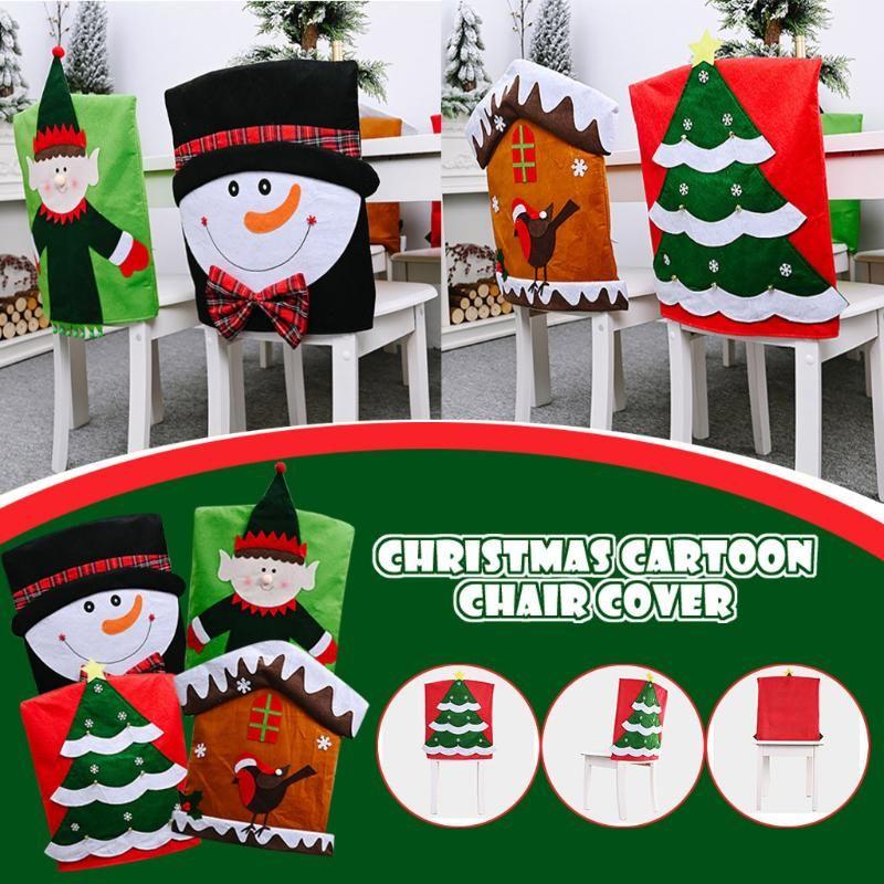 40# Christmas Decoration Supplies Non-woven Cartoon Christmas Chair Cover Set home decoration navidad Droshipping