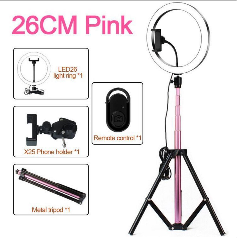 Light Ring avec selfie trépied Support de téléphone portable pour le maquillage vidéo, la photographie Caméra, 10inch Led lampe pour l'enregistrement Anneau lumineux, rose