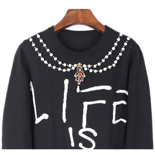 Las mujeres Harajuku Jerseys de punto Tops Navidad otoño invierno diseñadores pista sudaderas Carta perla rebordear básico de punto Tops Negro Pullover