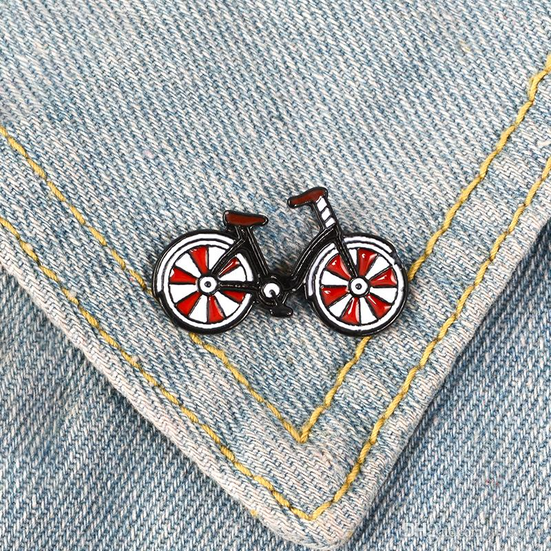 Red Bike Enamel Pin Cartoon bicycle badge brooch Lapel pin Denim Jeans bags Shirt Collar Cool Jewelry Gift for Kids Friends