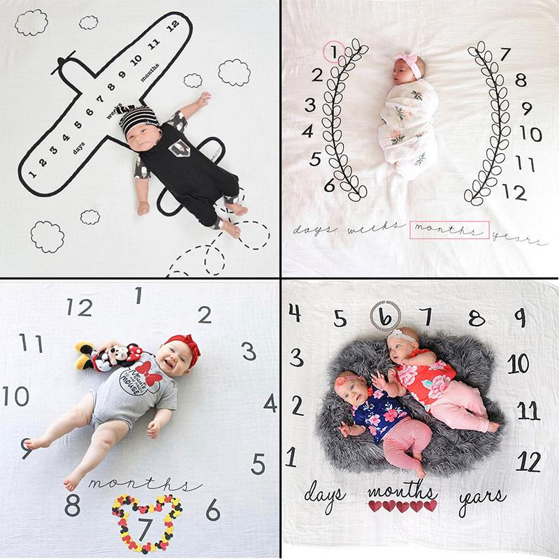 Infant Baby Milestone Blanket Photo Photography Prop Blankets ...
