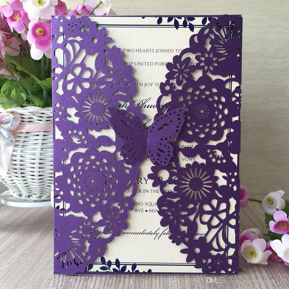 Roxo 3D borboleta jardim portão de flor de corte a laser pérola papel convite de casamento festa de aniversário de jantar decoração bolso cartão
