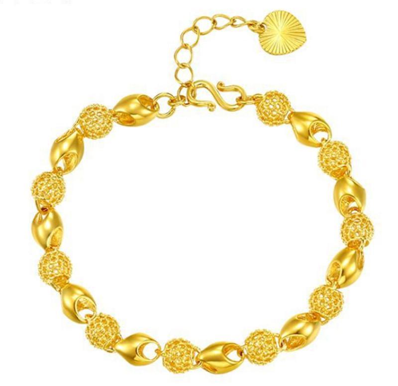 Позолоченный Вырез браслет из бисера Luxury Design Розария Link Chain Блестящих мужчины и женщины Браслетов ювелирных изделий