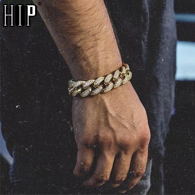 Hip Hop Bling Chains Mens Braccialetto in oro Miami Cuban Collegamento Catene Mens Iced Out Jewelry Diamond Bracelet