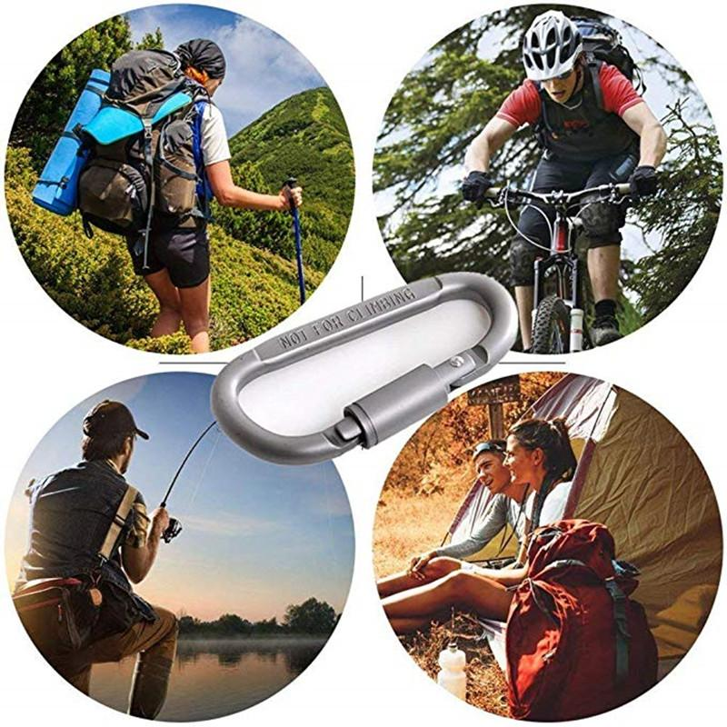 6PCS a lot Camping Spring Snap Key Chain Clip Hook Screw Keychain D Shape Buckle Carabiner Clips Aluminum D Ring Locking Key Chain (6)