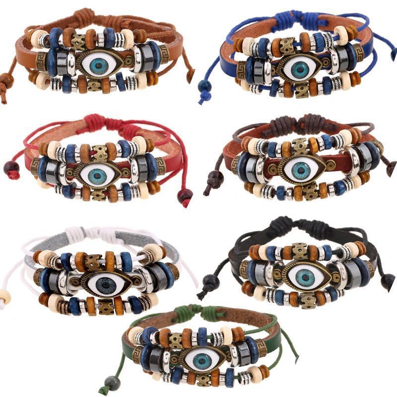 Новый классический кожаный браслет веревочки Злые Бисер глаз Подвески Браслеты многожильный Регулируемое турецкий браслеты Vintage ювелирные изделия