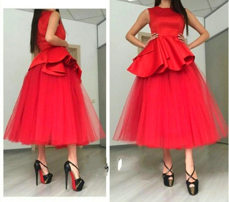Vintage Tea Length Red Short Prom Dresses Elegant Crew Neck Sleeveless Dubai Cocktail Party Dresses Empire Waist Tulles Arabic Evening Gowns