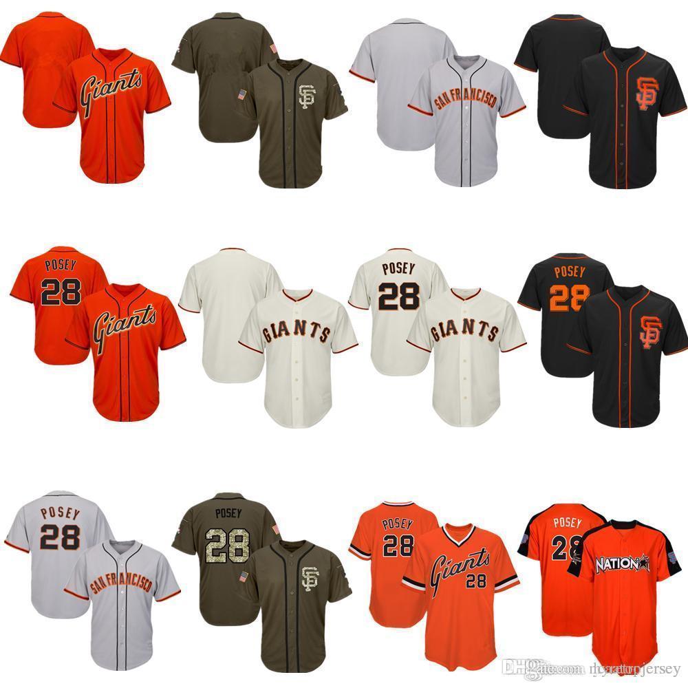 Hommes Femmes jeunes Giants Maillots 28 Posey Jersey Baseball Jersey Crème Noir Gris Gris Orange Vert Salut à Service joueurs All-Star Week-end