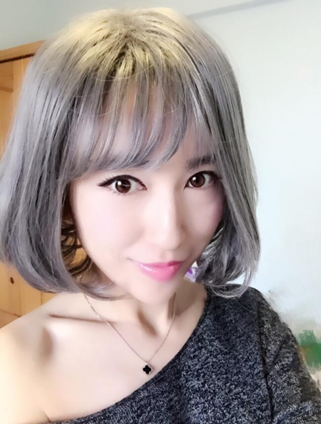 European And American Fashion Harajuku Girls Short Hair Air Bangs Bobo Head Grandma Gray Flower White Non Mainstream Wigs Front Lace Synthetic Wigs Lace Wig Glue From Xn133 20 32 Dhgate Com