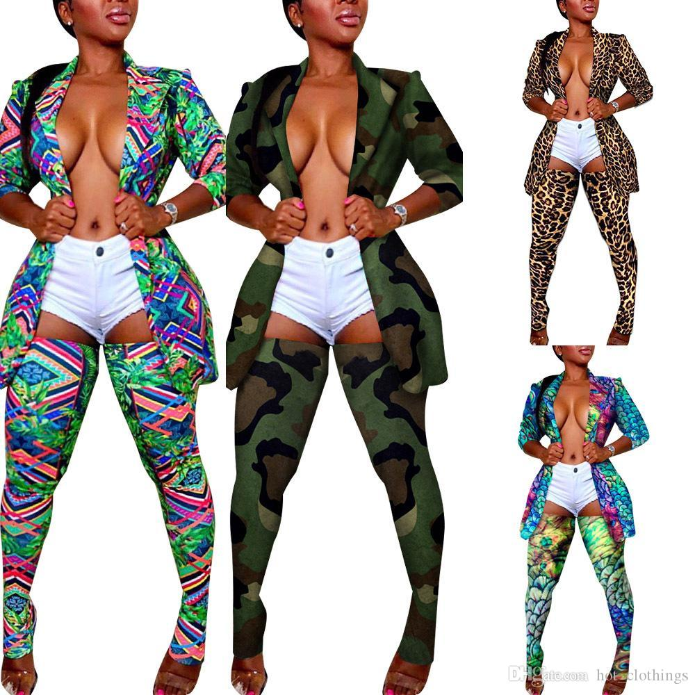 Manga del chándal del sistema completo de otoño invierno de las mujeres Imprimir Blazers Lápiz Pantalones Traje de dos piezas conjunto uniforme señora de la oficina traje