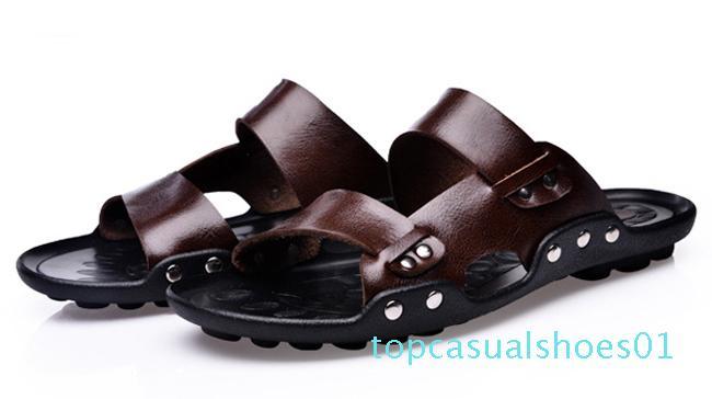 Atacado-Men Genuine Leather Flip flop chinelo masculino Moda Mens Chinelos de Verão ao ar livre Praia Casual Men Sandals t11