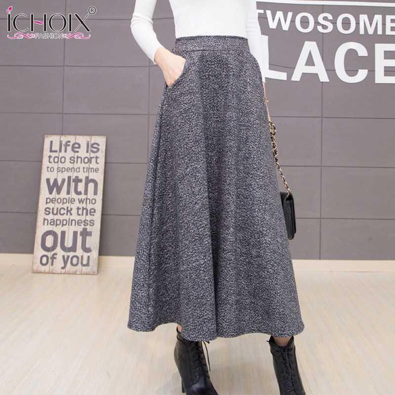 ICHOIX 2018 Automne Hiver De Laine Femmes Jupes Plus La Taille Laine Longue Jupe Faldas Mujer Taille Haute Maxi Tutu Jupe Plissée Saias