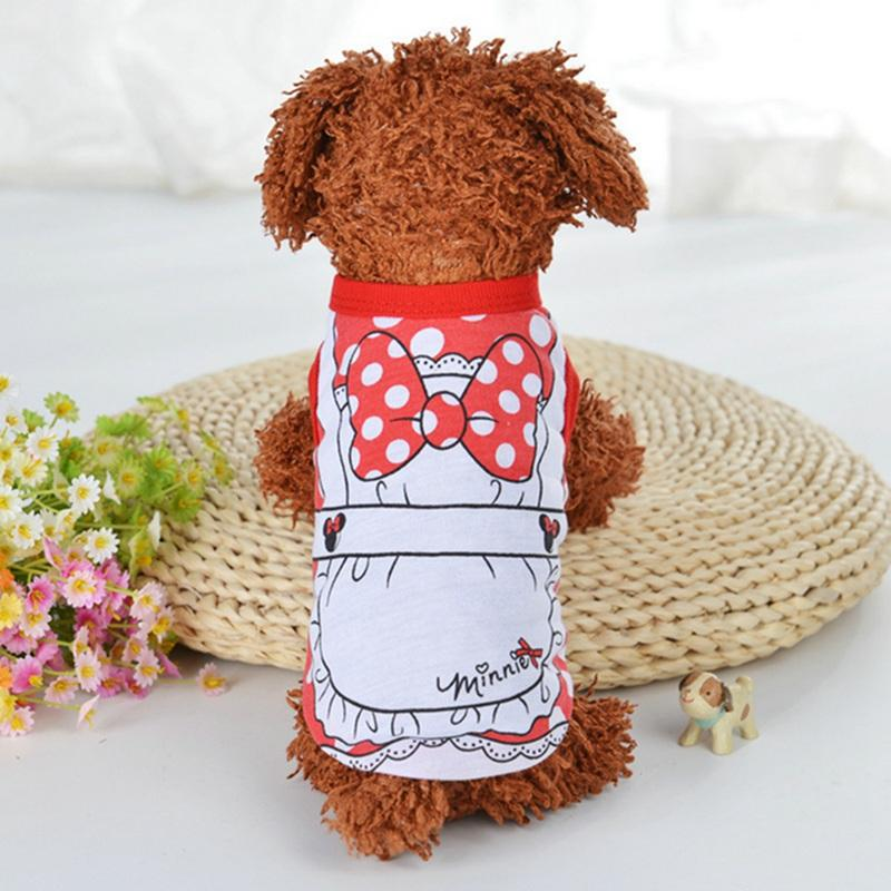 Cute Pet Puppy Winter Vest Small Dog Cat Dogs Clothing Cartoon Printed Cotton T Shirt Apparel Clothes Dog Shirt For Small Dogs