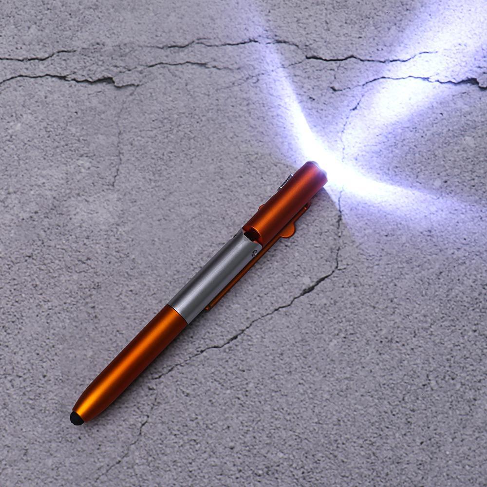 Multifunción móvil soporte del teléfono titular de la pluma del bolígrafo plegable LED de luz 4 en 1 Escuela Pen equipos de oficina papelería