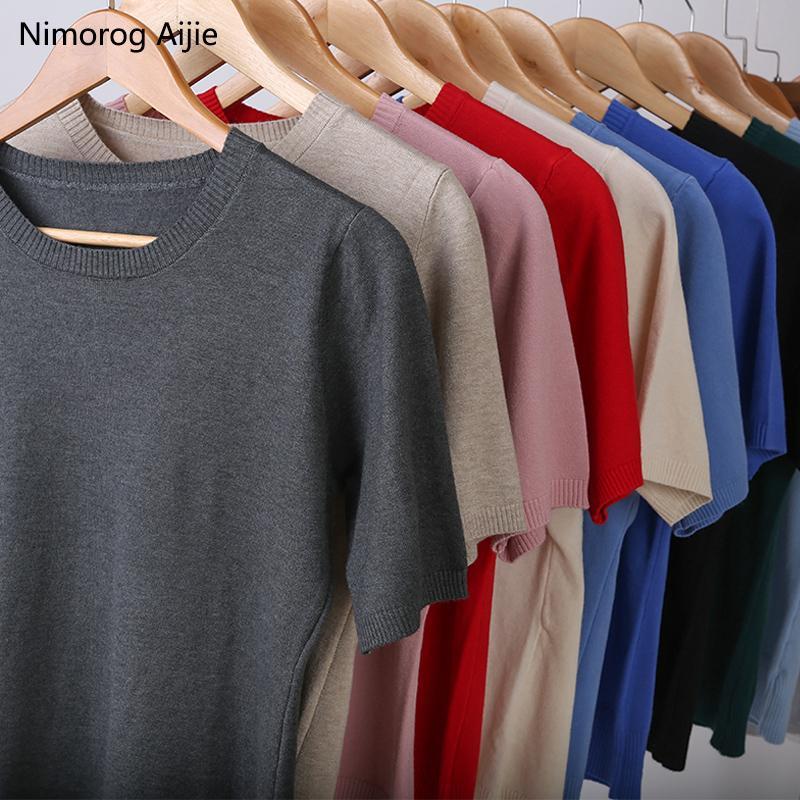 2019 nuove maglie donna Moda manica corta Girocollo donna maglione di cashmere maglione lavorato a maglia Plus Size maglione