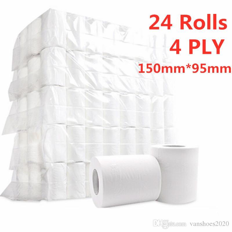 10 Rolls / lotto Rolls Ultra Strong carta igienica Salviette Bulk bagno carta igienica bianco morbido 4 Ply domestico famiglia Hotel Public Kitchen risciacquo