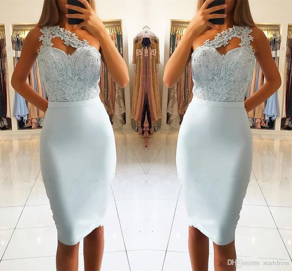 Discount One Shoulder Knee Length Cocktail Dresses 2019 Sheath Lace Appliques Spandex Bodice Sexy Women Party Gowns Beaded Short Prom Dress