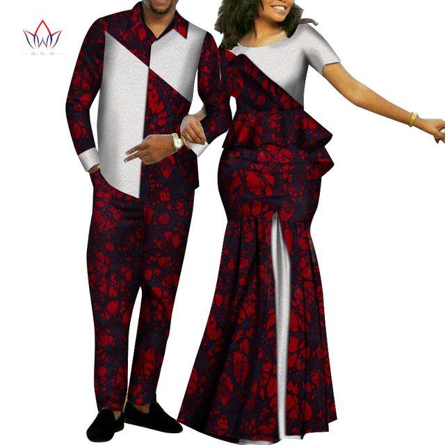 Африка Стиль Пары Одежда для сладкоежек 2019 Базен Длинные женщин платья Mens наборы Dashiki Плюс Размер Свадебные одежды WYQ268