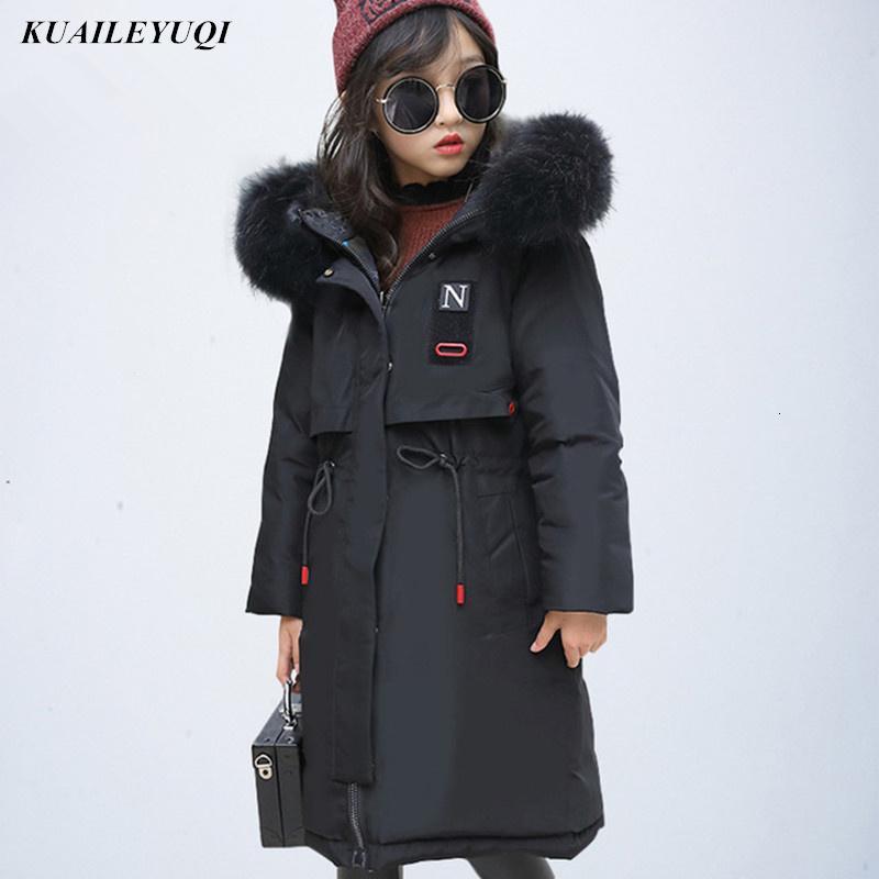 Children Girls Winter Down Jacket 2019 New Fur Hooded thin Long Kids Girl clothes Coat Warm Parka Teenage Outwear 10 12 14 YearMX190919