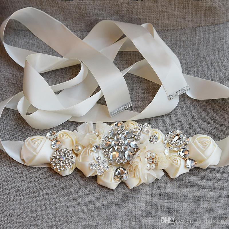 스타일에 레이스 웨딩 드레스를 끈 패션 꽃 꽃 신부 띠와 크리스탈 라인 석 회색 부르고뉴 화이트 베이지 웨딩 벨트