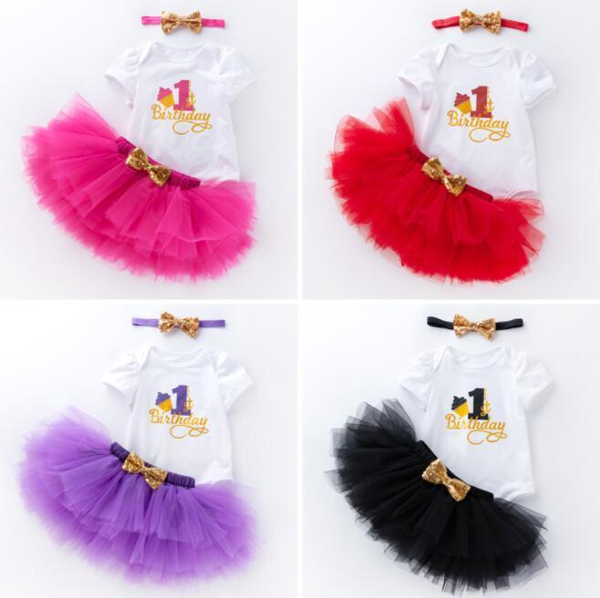 11 стилей Baby девушка день рождения с коротким рукавом наряды ползунки + пачки юбки + блесток повязка на голову 3 шт. Комплект детская вечеринка одеваются 1-й 2-й год BY0772