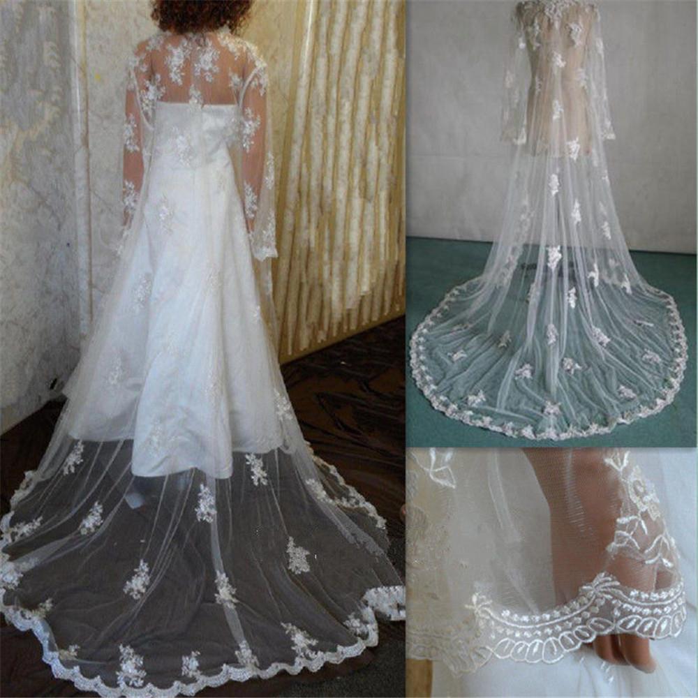 Vintage New manches longues blanc ivoire en dentelle de mariage veste de mariée Wrap train avec appliques bordure en dentelle