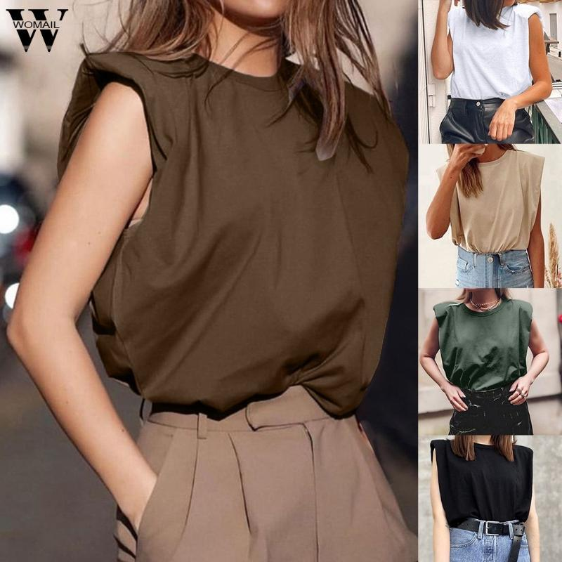 Mulheres Mulheres Camiseta Elegante Sem Mangas Loose T-shirt High Street Verão Tops Camiseta Tops Femininos Algodão Preto Branco Coreano Tops