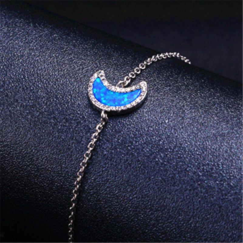 Lua Selvagem verdadeira Opal pulseira cadeia de Nova Prata Pulseira Temperamento Mulheres