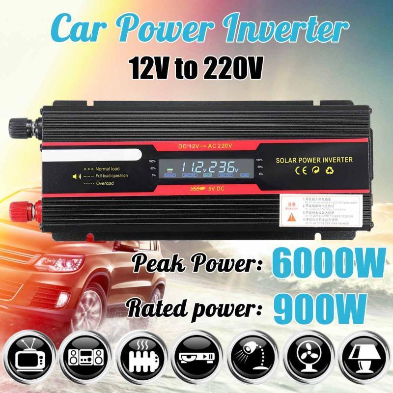 Fahrzeuginverter 12V 220V 6000W P EAK Solar Power Inverter LCD-Anzeige DC 12 / 24V bis AC 110V / 220V Modifizierter Sinuswellenwandler
