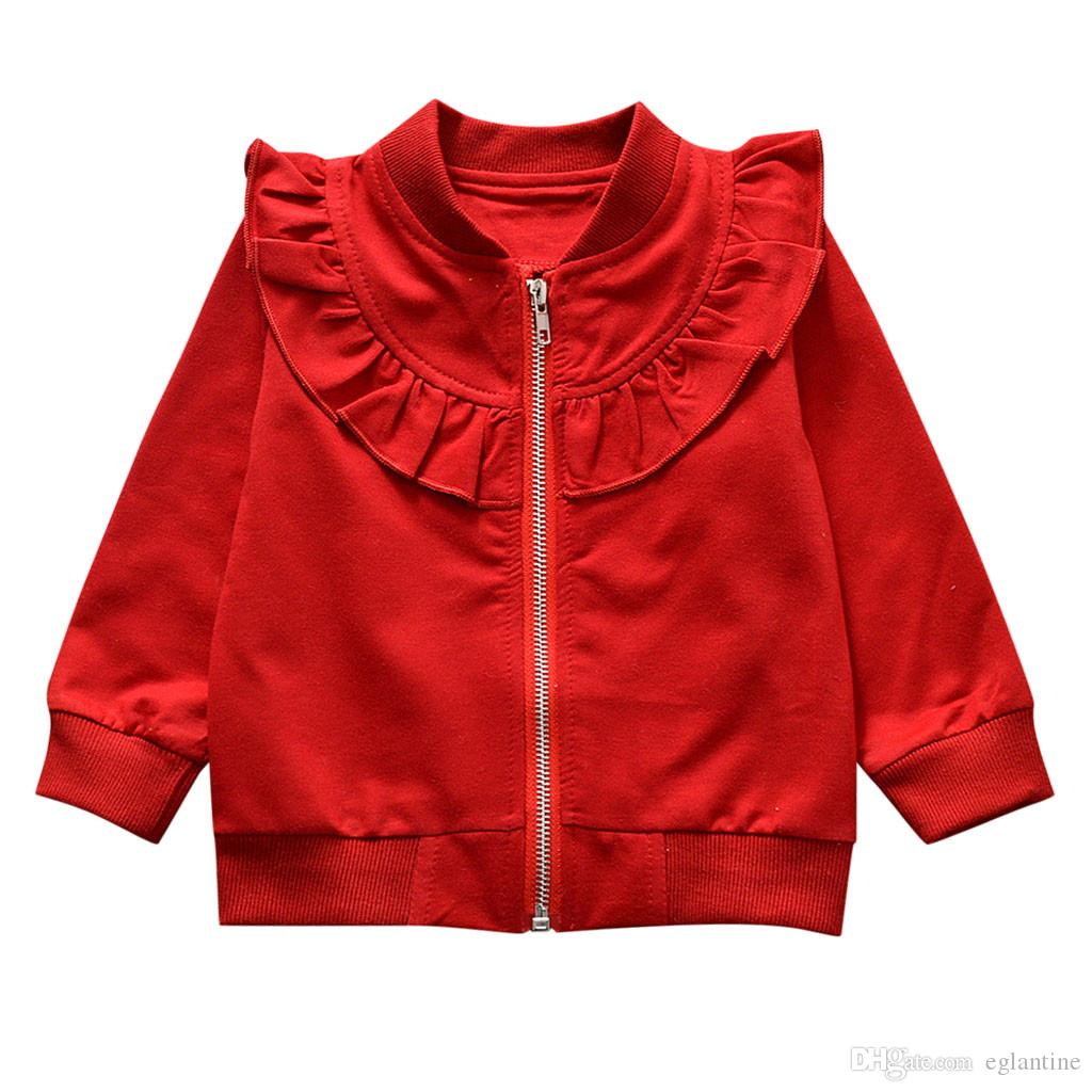 Baby Hoodies Mantel Langarm Solide Reißverschluss Sweatsuit Tops Oberbekleidung Baumwollmischung V-Ausschnitt Spitze für Kinder
