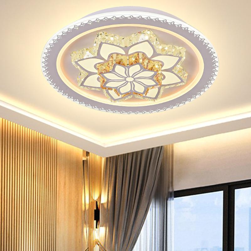 Новый раунд кристалл спальни гостиной под потолок лампа дом теплый сверхтонкий потолочное освещение потолочные светильники дистанционного управления лампы