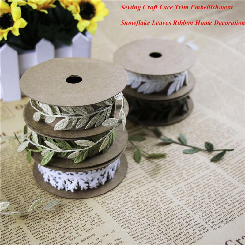 Sewing Craft felt Lace Trim Embellishment White snowflake christmas decorations Green Leaves Ribbon DIY Garment Home Decoration