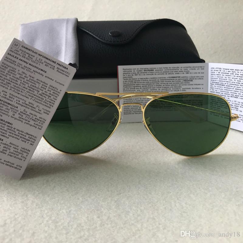 العلامة التجارية مصمم خمر الطيار الرجال النساء 58 ملليمتر 62 ملليمتر حظر uv400 مرآة الفرقة مرآة زجاج عدسة بن نظارات مع حالات القيادة fffff
