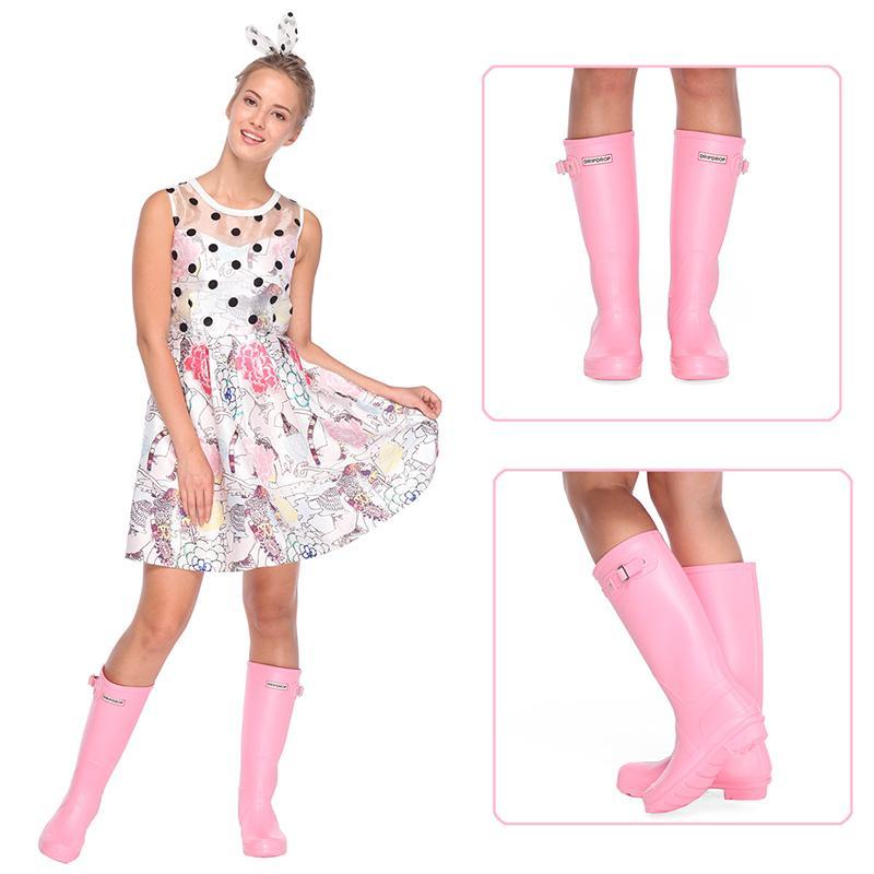 dripdrop Women's Original Tall Rain Boots Waterproof Snow Wellies Girls Wellington Booties Y200115