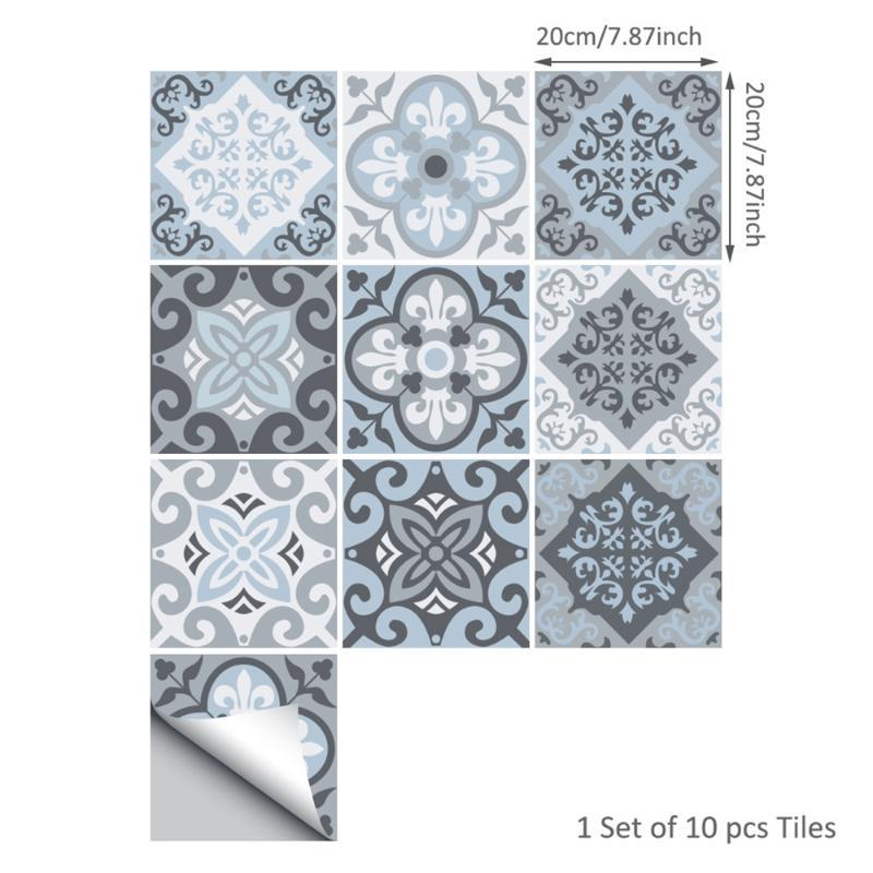 10pcs/set DIY Tile Stickers Wall Sticker Self-sticking Waterproof Kitchen Bathroom Home Decor Ornament